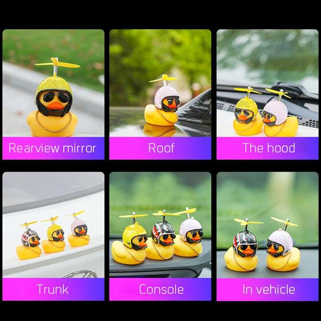 Car Duck with Helmet Broken Wind Small Yellow Duck Road Bike Motor Helmet Riding Cycling Car Accessories Decor Without Lights 4