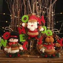Christmas Wreath Pendant Plush Doll Santa Snowman Elk Rattan Wreath Hanging Decorations For Christmas Festival SuppliesCMMA