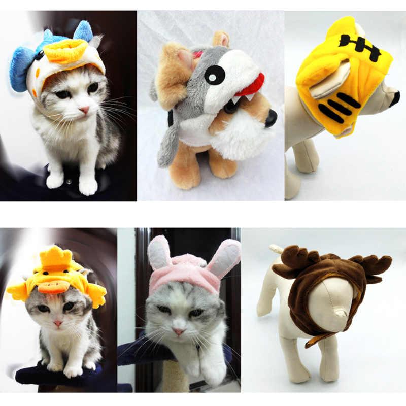 Vestiti del gatto Del Cappello Per I Cani di Natale Dress Up Carino Cappelli Per Cani Gatto di Halloween Pet Costume Cappello Testa Set Per gli animali domestici Accessori
