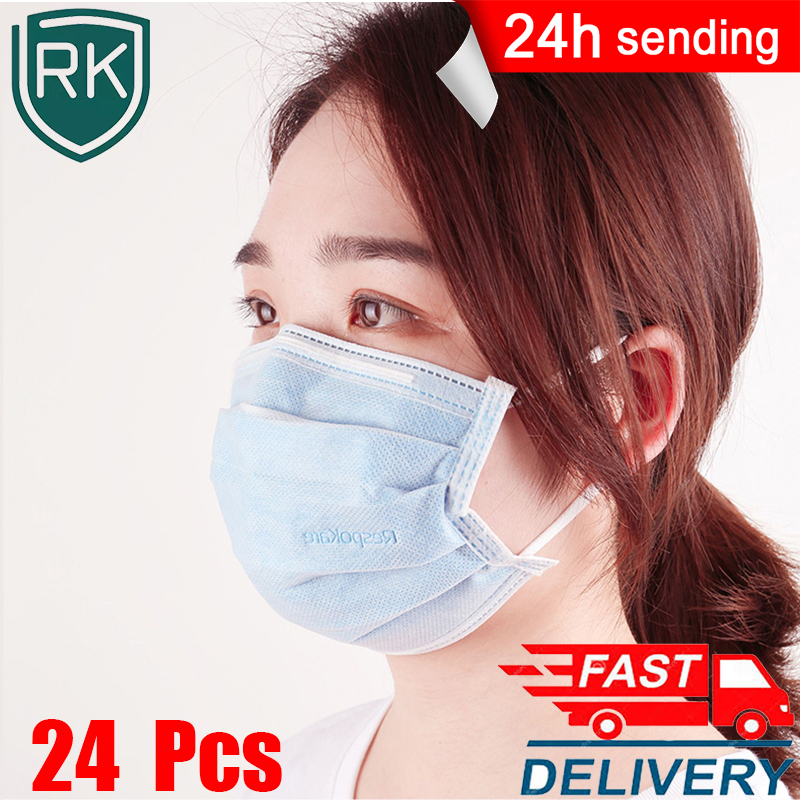 Respokare 24 Pcs Disposable Masks 4-layer Mascarillas Anti Bacteria Dust Mouth Face Mask Non Woven Protection Adult Masque Masks