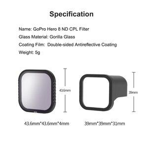 Image 5 - Комплект магнитных фильтров TElESIN CPL ND 8/16/32 для gopro 8 hero8, поляризационный фильтр ND8 ND16, Защитная линза, аксессуары для объектива камеры