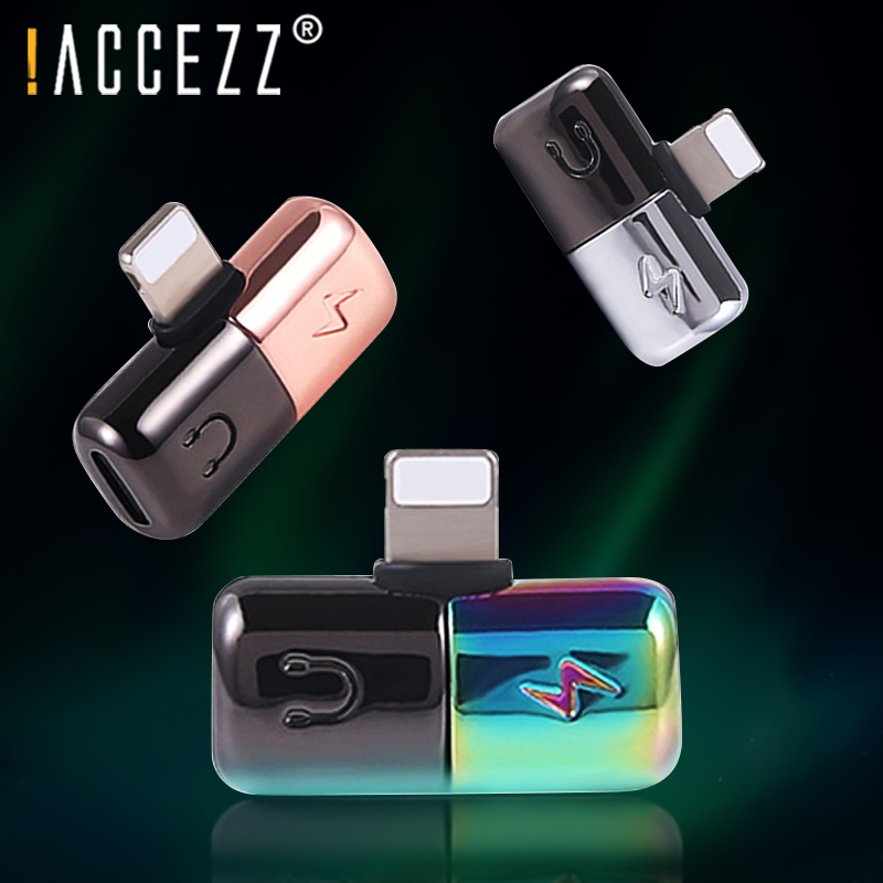 !ACCEZZ For IPhone Adaptador For IPhone X 8 7 Plus XS MAX XR Cell Mobile Phone Adapter Mini Dual Lighting Connector AUX Splitter
