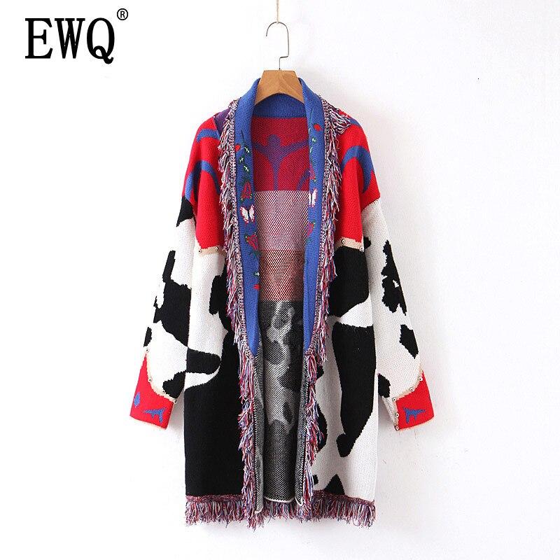 [EWQ] Women Clothes 2020 Spring Autumn  Clothes Women Lazy Wind Cow Line Tassel Cardigan Women Sweater Women 19C-a152