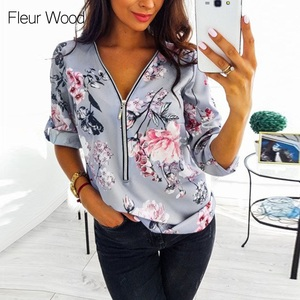 FLEUR WOOD Women T-shirts Casual Zipper Slim t Shirt Women Printed Tops Tee Summer Female T shirt Short Sleeve Women Clothing(China)