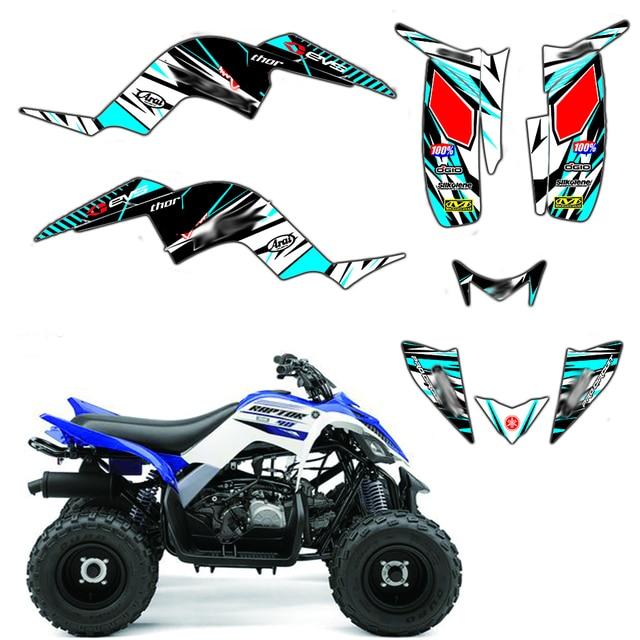 Full Team Decals Stickers Graphic DECO Kit ATV For Yamaha RAPTOR 90 YFM90 2009 2010 2011 2012 2013 2014 2015