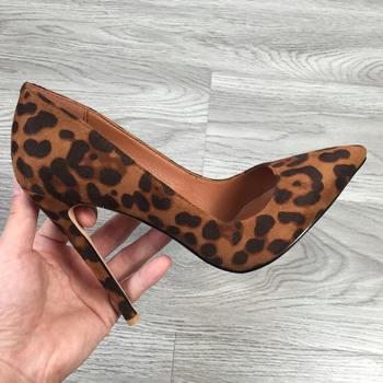 2020 zapatos de tacón alto de gamuza con estampado de leopardo sexis de 12cm zapatos de tacón puntiagudos zapatos de tacón de mujer marrón amarillo zapatos deslizantes supertacones