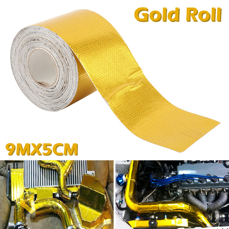 NEW 9mx5cm Adhesive Reflective Gold High Temperature Heat Shield Wrap Tape Rol