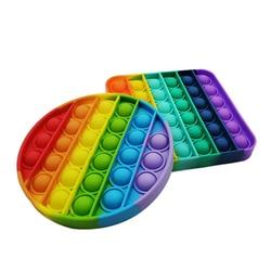 Rainbow Push Bubble Pops Fidget Sensory Toy for Autisim Special Needs Anti-stress Game Stress Relief Squishy Pops It Fidget Toys