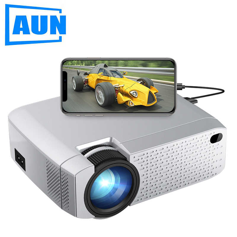 AUN D40W MINI Projector, Support IOS/Android Phone Wireless Sync Display, LED Projector for 720P home cinema, 3D Beamer