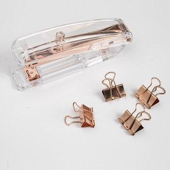 Grapadora Manual de Metal de lujo, oro rosa, 24/6, incluye grapas, 26/6