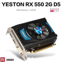 Yeston – carte graphique TD D5 pour PC de bureau gamer, 2 go GDDR5, RX550-2G/1183 MHz, 6000 bits, compatible DP, HDMI, DVI-D