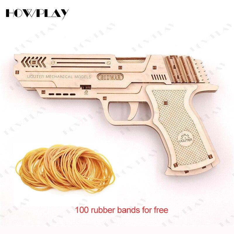 Howplay 6 Bursts Of Wooden Rubber Band Gun Pistol Mechanical Transmission Model Weapon Assembly Toys For Children Family Games
