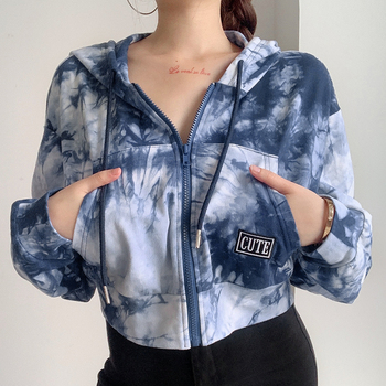 Streetwear Ink Painting Tie Dye Crop Top Women Clothing Long Sleeve Zipper Hooded Hoodies Womens Sweatshirt Cropped Sweatshirts