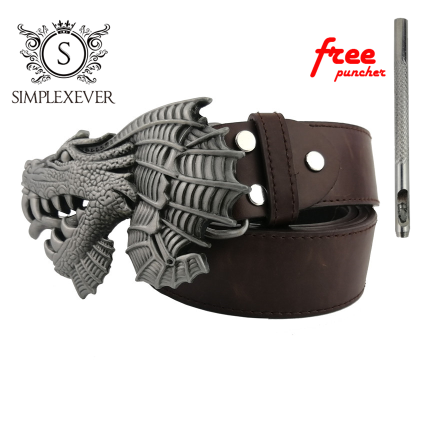 Vintage Silver Belt Buckle For Men Silver Dragon Cowboy Western Belt Buckle Men's Gift With Belt