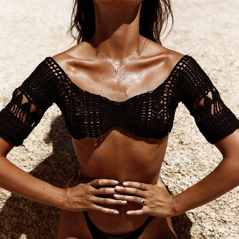 Women Sexy Crochet Hippie Bralette Knit Bra Boho Beach Bikini Crop Tops Swimwear Sexy Top Boho Bikini Top