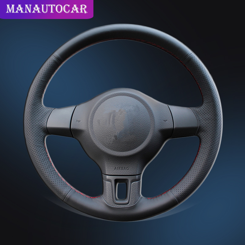 Car Braid On The Steering Wheel Cover for Volkswagen VW Golf 6 Mk6 VW Polo MK5 2010 2013Q without Original Leather Wheel Covers|Steering Covers| |  - title=