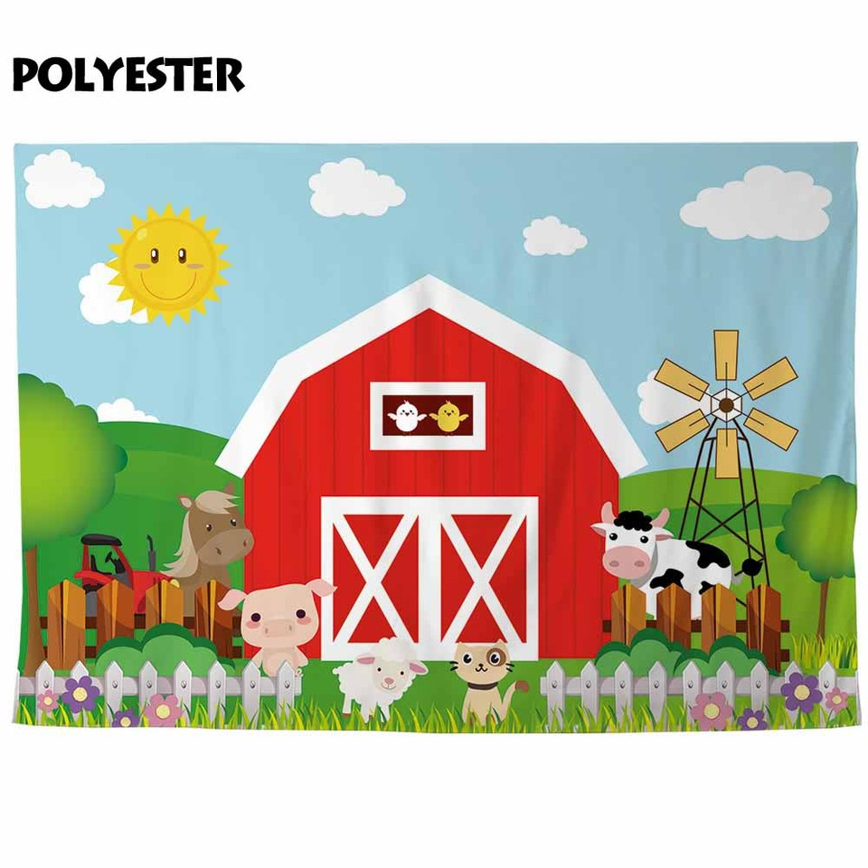 Allenjoy Cartoon Red Barn Backdrop Photophone Zenon Farm Animals Windmill Baby Event Supplies Kid Birthday Background Banner Party Backdrops Aliexpress