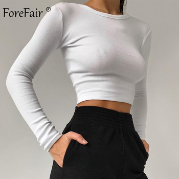 Forefair Long Sleeve Ribbed T Shirt Women Autumn Ladies Underwear Solid Slim O Neck Knitted Women Sexy Crop Tops 1