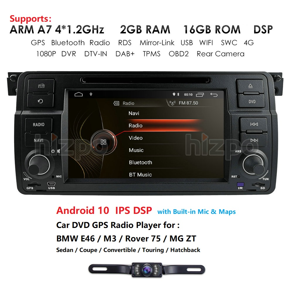 HIZPO 4 Core <font><b>Android</b></font> 10.0 Car DVD Radio For bmw series 3 e46 2000-2006 Rover 75 1999-2005 MG ZT Touch screen <font><b>GPS</b></font> DVR Free camera image