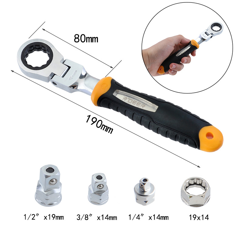 """Adjustable Ratchet Wrench 1//4/"""" 3//8/"""" 1//2/"""" Socket Adapter Spanner Auto Repair Tool"""
