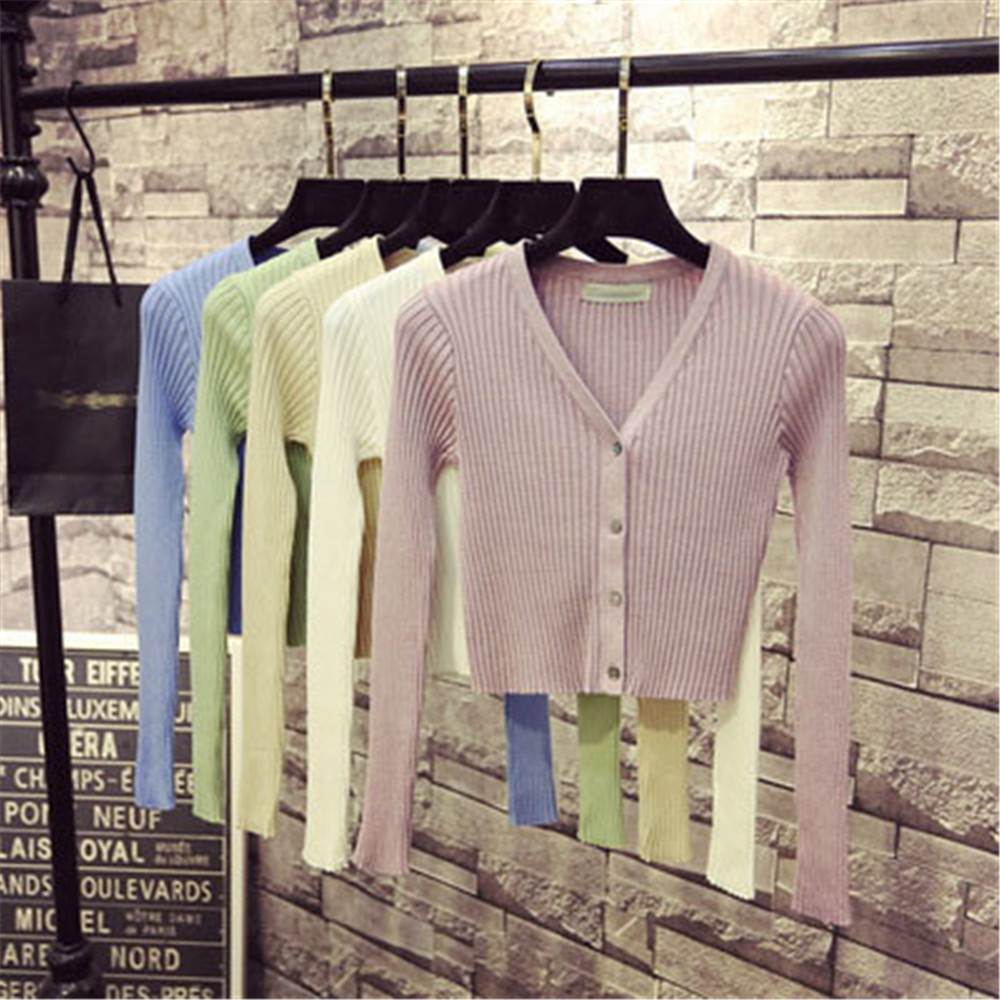 Korean Fashion Spring Newly Patchwork Sweaters Women Cardigans 2020 Slim Ladies Knitted Sweater Long Sleeve Buttons Sweater 1540 2