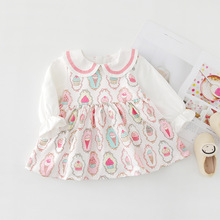 WLG kids dresses for girls autumn ice cream printed princess