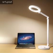 ArtPad 10 واط 15 سطوع اللمس باهتة الحديثة مكتب LED الجدول مصباح USB ميناء تهمة الهاتف طالب القراءة دراسة ضوء أسود أبيض