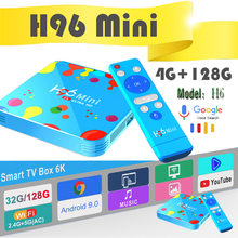 Google smart tv box android H96 Mini youtube4K 4GB 128GB Media-Player Bluetooth Android 9.0 TV Box Allwinner H6 Quad Core 6K стоимость