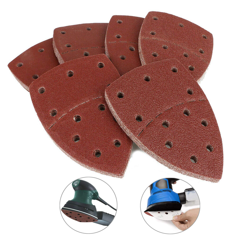 20pcs Mouse Sanding Discs Hook&Loop Sander Pads 11-Hole Triangle Sand Paper Grits 40/60/80/ 120/180/ 240/ Fit Bosch Multi-Sander