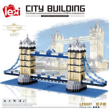 LZ8007 Architecture London Twin Bridges Building Blocks Micro Diamond Assemble Educational Kits Bricks Toy for Children