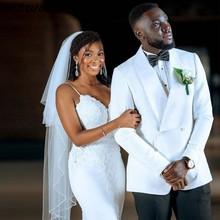 Suits Tuxedos Groom Wedding White Shawl Jacket--Pants Saudi Lapel Arabic Double-Breasted