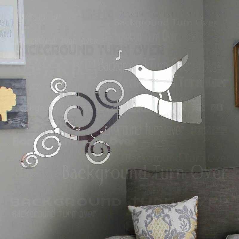 >Mirror Wall Stickers Room Decoration <font><b>House</b></font> <font><b>Bathroom</b></font> <font><b>Decor</b></font> Sticker Bedroom Accessories Bird Singing Swirly Twig Branch R061
