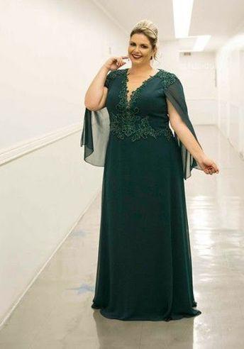Green Long Mother Of The Bride Dresses 2019 Capelet Floor Length Deep V-Neck Beads Chiffon Plus Size Vestido De Madrinha Farsali