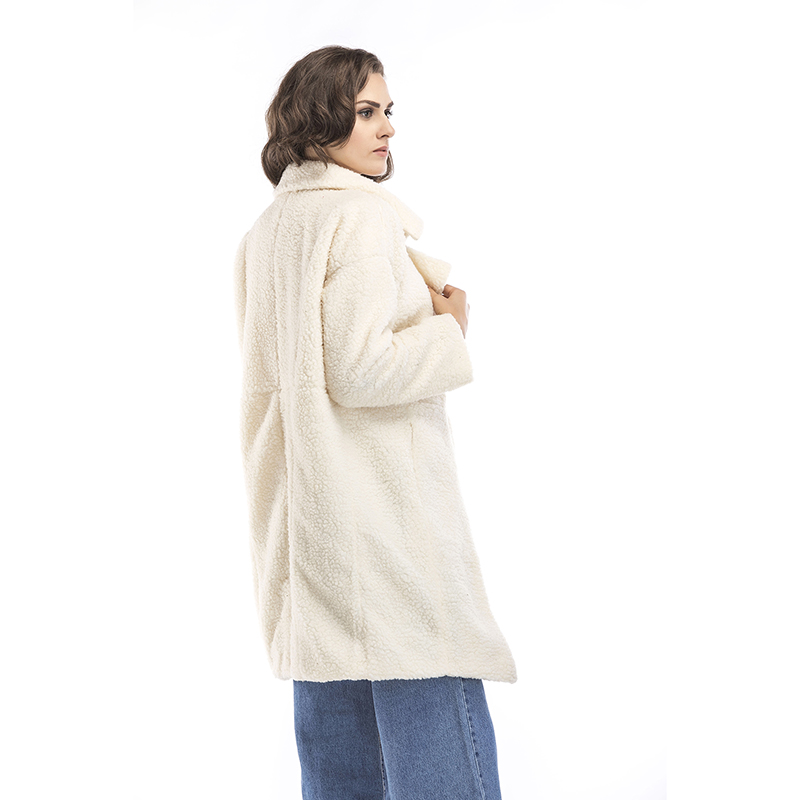 2019 autumn and winter new women's cotton jacket cashmere long-sleeved solid color long coat wool coat 9