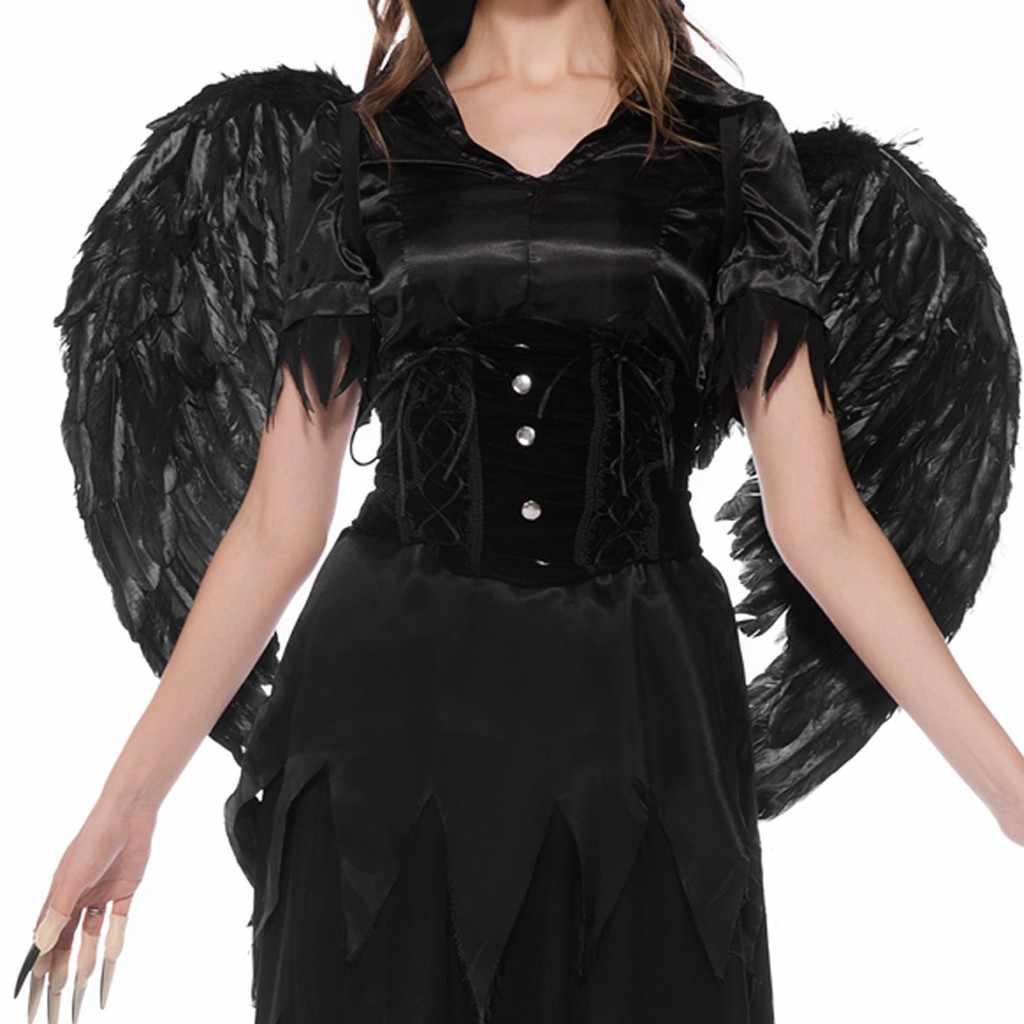 #35 Женское вечернее платье в богемном стиле, большого размера платье Хэллоуин ведьмы черный Платья Ангела Детский костюм для вечеринок Косплэй длинное платье