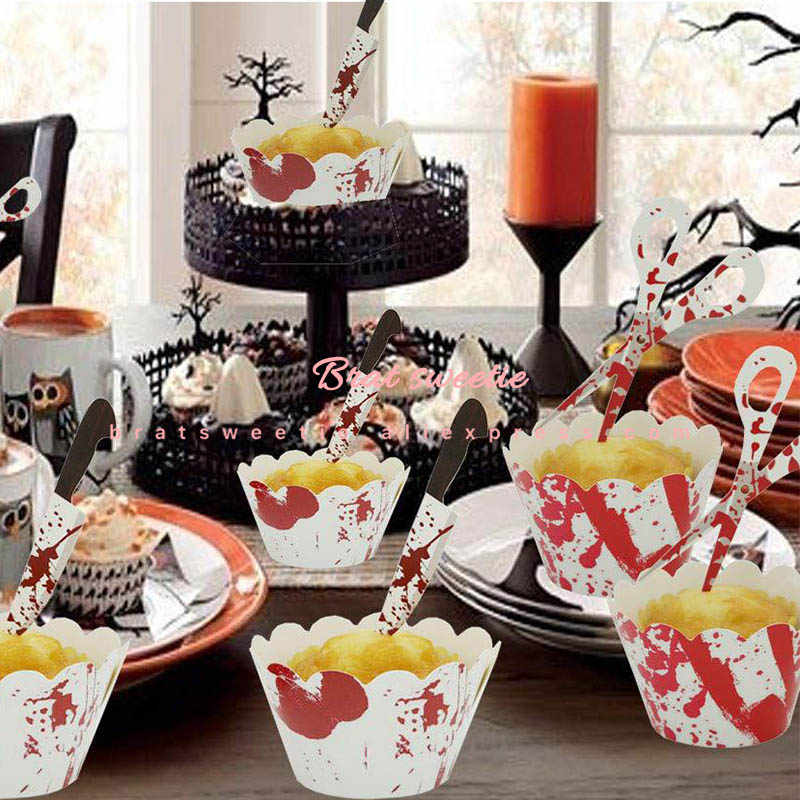 24pcs Halloween Sangrento Handprint Pegada Faca Tesoura Pega de Coco do Bolo Cupcake Wrapper Feliz Dia Das Bruxas Decorações Do Partido