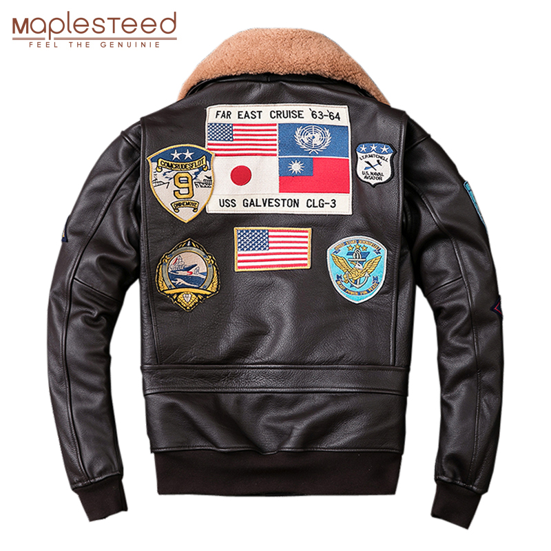 MAPLESTEED Air Force G1 Flight Jacket Thickening Quilted Jacket Top Layer Calfskin Leather Jacket Men Coat Winter Jackets M212