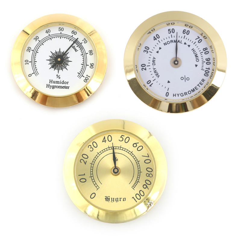 1Pcs 50mm/37mm Round Glass Analog Hygrometer For Humidors Gold For Guitar Violin Cigar Tobacco Box