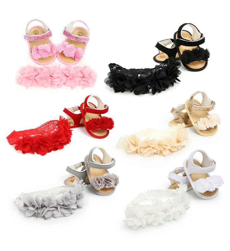 Pasgeboren Baby Meisje Sandalen Leuke Bloem Applicaties Meisje Sandaal Klompen Schoenen Zapatos Bebe Met Hoofdband