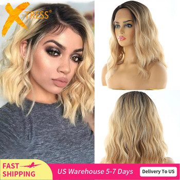 Lace Front Synthetic Hair Wigs X-TRESS Ombre Brown Blonde Color Natural Wave Side Part 12 Short Bob L Part Lace  Wig For Women