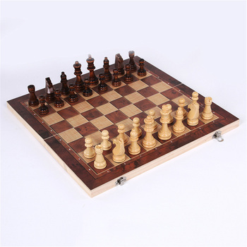 3 In 1 Wooden Foldable Chess Refined Workmanship Natural Environmental Protection Paint Travel Board Game