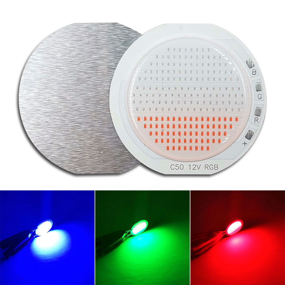 New Arrival 50mm Rounded RGB <font><b>COB</b></font> <font><b>LED</b></font> Light <font><b>12V</b></font> Bulb White Red Green Blue Three Color Chip <font><b>LED</b></font> Lamp for Outdoor Decor Lighting image