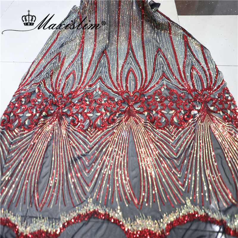 NEW Sequins Fabric Colorful Striped Lace Embroidered Tulle Fabrics Evening Dress Sewing DIY Accessories 5Yards/Lot Free Shipping