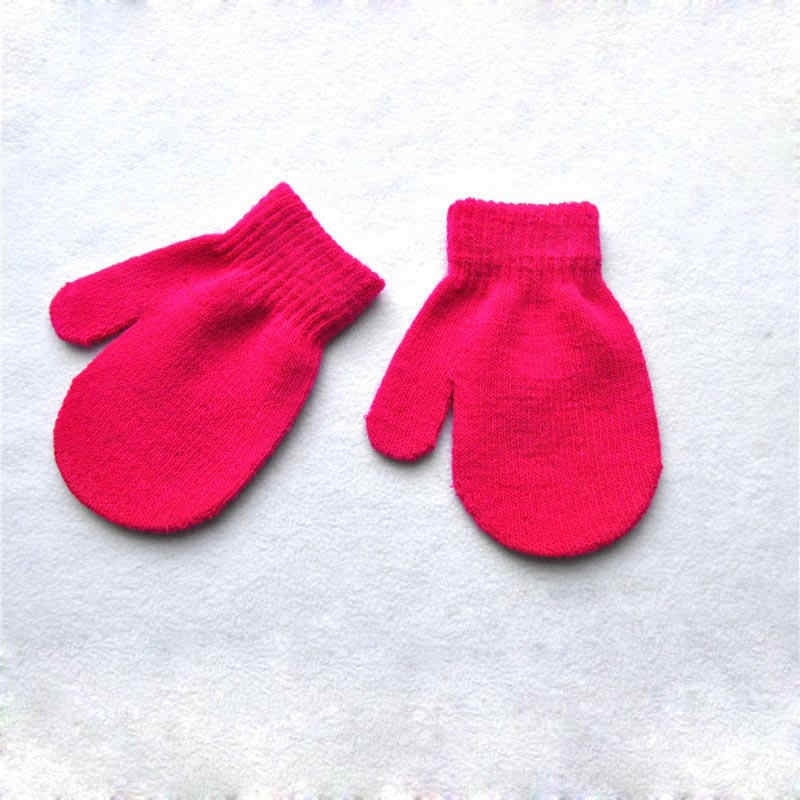 Balleenshiny 1 ペアベビー手袋少年少女のための固体冬手袋フルフィンガーグローブニットアンチスクラッチ赤ちゃんミトン