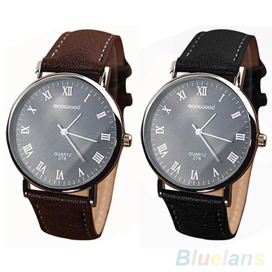 Men's Watch Roman Numerals Dial Faux Leather Band Quartz Analog Business Wrist Watch Zegarek Meski часы мужские наручные