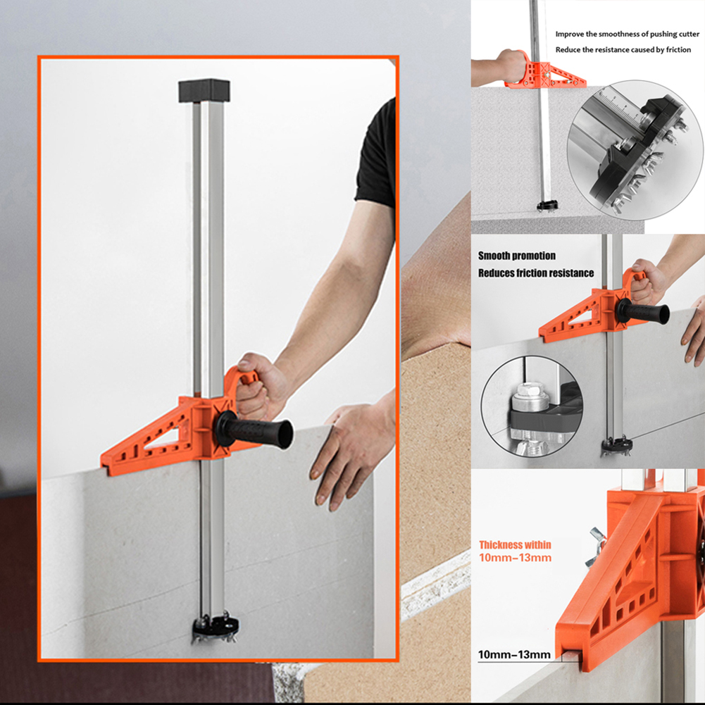 Tools : Durable Fixing Manual Gypsum Board Cutter Adjustable Hand Push Drywall Cutting Tool Double Handle with Stainless Steel Ruler