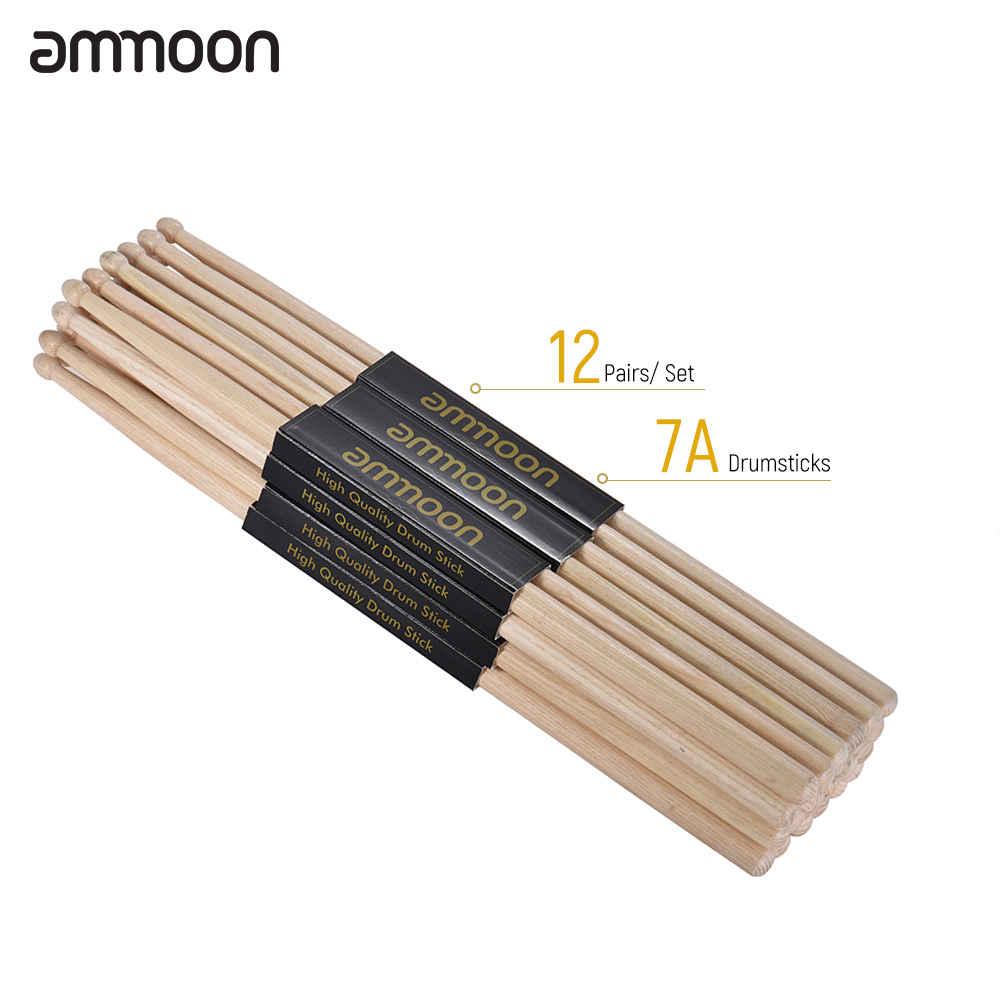 Ammoon Standard 7A Wooden Drumsticks Drum Sticks Fraxinus Mandshurica Wood Drum Set Accessories
