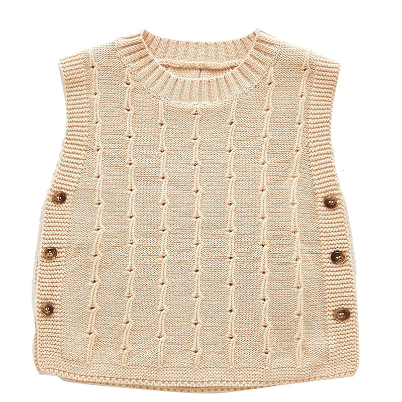 Autumn Newborn Baby Boys Girls Cotton Knitted Sleeveless Vest Cute Solid Sweater Knitted Vest Coat Korean Japan Style 2