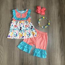 קיץ תינוק בנות ילדי בגדים כחול אלמוגים בת ים מנוקדת kidswear capris תלבושות כותנה לפרוע בוטיק התאמה accessries