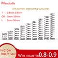 304 нержавеющая сталь пружины сжатия, провод diameter0.8-0,9, внешний diameter5-16,minispring,10 шт.